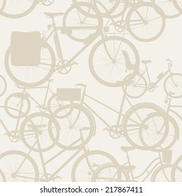 Vector seamless bicycle themed pattern with touring bicycle, fixed gear, wooden crate, retro frame and baby seat equipped bicycle | City, town and urban bicycles seamless pattern beige background