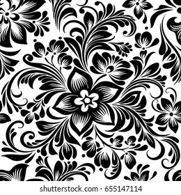 vector seamless black and white decorative pattern with abstract stylized flowers in folk style, hohloma, petrikovka. Ethnic floral ornamental design for textiles, wallpaper, packaging