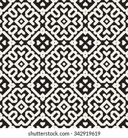 Vector Seamless Black And White Ethnic Geometric Blocks Pattern Abstract Background