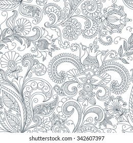 vector seamless black and white floral pattern of spirals, swirls, doodles