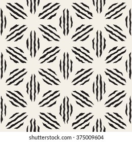 Vector Seamless Black And White Hand Painted Line Geometric Petal Stripes Pattern Abstract Background