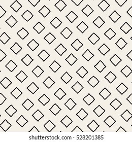 Vector Seamless Black and White Hand Drawn Rhombus Lines Pattern. Abstract Geometric Background Design