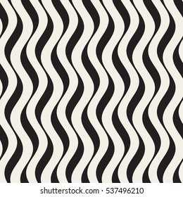 Vector Seamless Black and White Hand Drawn Vertical Wavy Lines Pattern