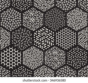 Vector Seamless Black and White  Hexagonal Patchwork Tiling Filled With Rounded Line Jumble Patterns