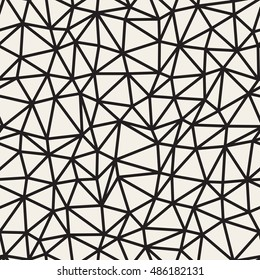 Vector Seamless Black and White Irregular Triangle Grid Pattern. Abstract Geometric Background Design