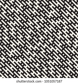 Vector seamless black and white lines maze pattern. Abstract geometric irregular stripes background design