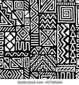 vector seamless black and white pattern with abstract lines. geometric art print. fashion 80s-90s. memphis style design. ethnic hipster backdrop. Wallpaper, cloth design, fabric, textile. hand drawn.