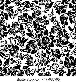 vector seamless black and white pattern with abstract stylized flowers in folk style hohloma