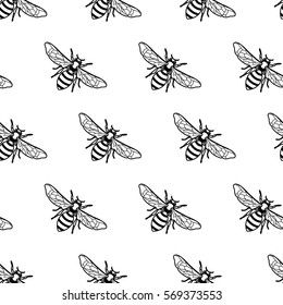 Vector seamless black and white pattern with linear bee. Organic honey background. Concept for honey package design, label, wrapping, fashion prints.