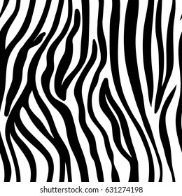 vector seamless black and white pattern of zebra. EPS