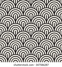 Vector Seamless Black and White Rounded Arc Concentric Circles Pattern Abstract Background