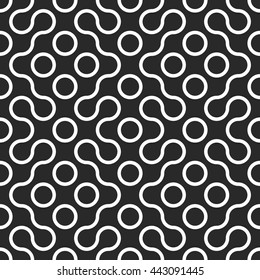 Vector seamless black and white rounded line spiral cross pattern. Abstract maze smooth mosaic pattern background