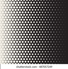 Vector Seamless Black and White Transition Halftone Hexagonal Grid Pattern. Abstract Geometric Background Design