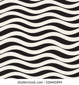 Vector Seamless Black and White Wavy Horizontal Lines Pattern. Abstract Geometric Background Design.