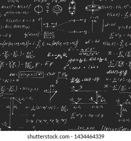Vector seamless blackground with hand written scientific formulas and calculations in physics, quantum mechanics and mathematics.