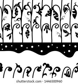 Vector seamless black-white pattern of floral ornament hand-drawn black spots of stylized shoots and leaves on a white background.