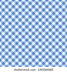 Vector seamless blue classic table cloth texture with diagonal lines
