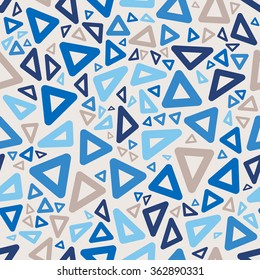 Vector Seamless Blue Colors Jumble Rounded Triangle Geometric Retro Pattern Abstract Background