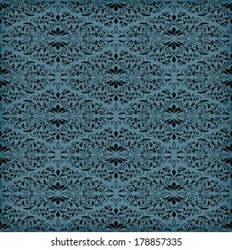 Vector seamless blue  floral pattern, transparency effects and gradient mesh applied, seamless pattern in swatch menu