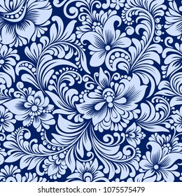 Vector seamless blue pattern with abstract stylized flowers in folk style, hohloma, petrikovka. Ethnic floral ornamental design for textiles, wallpaper, packaging