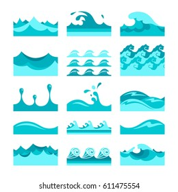 Vector seamless blue water wave tiles set for patterns and textures