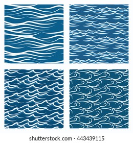 Vector seamless blue waves abstract pattern set