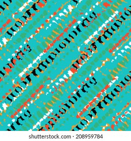 Vector seamless bold pattern with short grunge brushstrokes and thin diagonal stripes hand painted in bright colors - black, orange, red, aqua green, turquoise, yellow, white