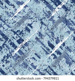 Vector seamless bold plaid pattern with wild crossing brushstrokes and thin stripes hand drawn in variety of nautical blue colors for retro fashion on watercolor background with paint splatters