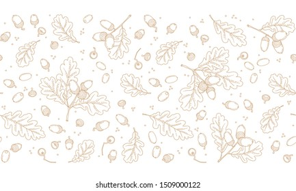 Vector seamless border with autumn oak leaves, acorns. Pattern in line art style, isolated. Outline, linear vintage drawing botanical  illustration. Autumnal leaves, elements for design template