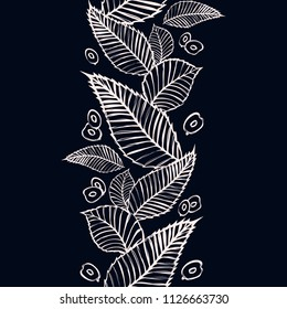 Vector seamless border with beech and elm leaves and seeds. Endless vertical pattern with decorative floral ornament. Chalkboard.