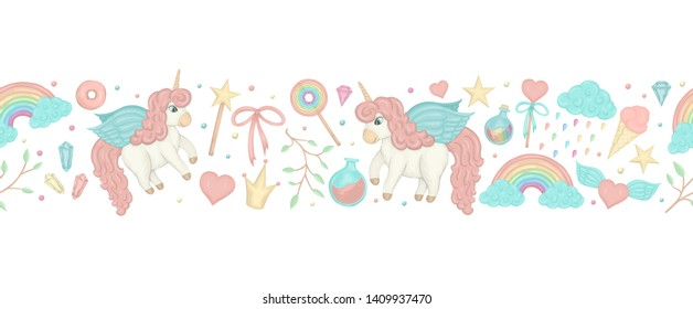 Vector seamless border brush with cute watercolor style unicorns, rainbow, clouds, donuts, crown, crystals, hearts. Sweet girlish illustration. Fairytale repeat background. Good for stationery