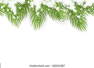 Vector seamless border with Christmas tree branches and snow. Vector decoration isolated from the background.