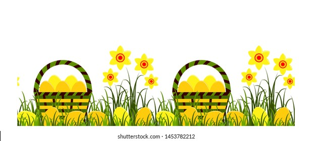 vector seamless border with daffodils and easter eggs in baskets isolated on white background