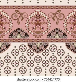 Vector seamless border with decorative ethnic elements. Moroccan style. Pink horizontal arabian pattern with decorative elements. Design for home decor, wrapping paper, fabric, carpet, cover