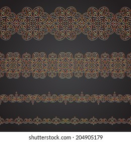 Vector seamless border in Eastern style. Ornate element for design and place for text. Ornamental lace pattern for wedding invitations and greeting cards. Traditional bright decor.