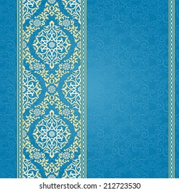 Vector seamless border in Eastern style. Ornate element for design and place for text. Ornamental lace pattern for wedding invitations and greeting cards.Traditional light decor on blue background.