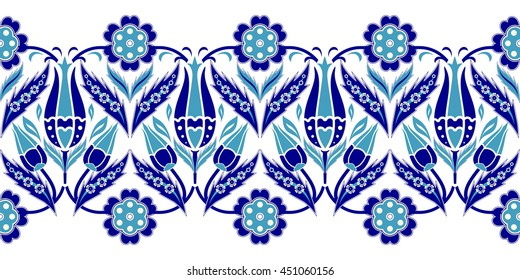 Vector seamless  border in Eastern style.  Ornament for wedding invitations, birthday and greeting cards. Endless turkish colorful pattern can be used for ceramic tile, wallpaper,  web page background