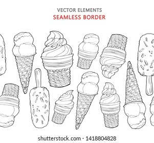 Vector seamless border of eskimo pies and hand drawn ice creams in waffle cones. Vector elements isolated on a white background. Summer decorations. Endless horizontal brush. Black and white