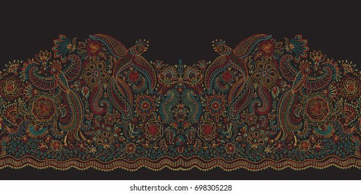 Vector seamless border in ethnic style.Exotic flying birds, colorful contour thin line drawing with folk ornaments on a black background.Embroidery silhouette, wallpaper, textile print, wrapping paper