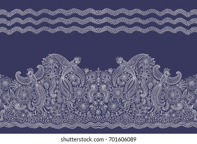 Vector seamless border in ethnic style.Exotic flying peacock birds, beige contour thin line drawing  folk ornaments on dark indigo blue background.Embroidery, wallpaper, textile print, wrapping paper