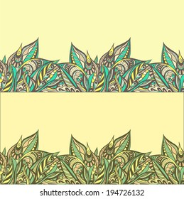 Vector seamless border, floral motive, two color decisions.