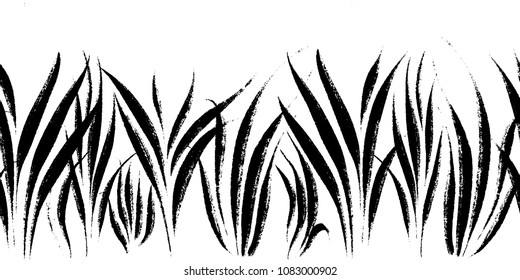Vector seamless border with ink drawing grass, artistic botanical illustration, isolated floral elements, hand drawn repeatable illustration.