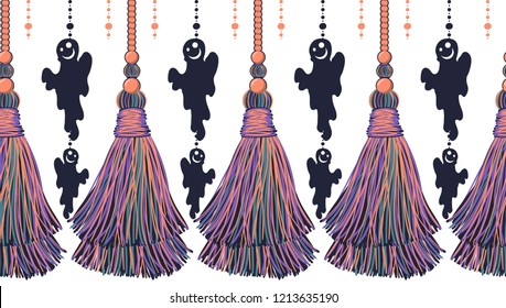 Vector seamless border pattern for Halloween design.  Funny cartoon ribbons with tassels, flat style, and cute ghosts, spooks. Bright lilac, violet, neon pink colors, perfect for cards, borders