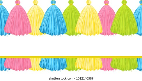 Vector seamless border pattern.  Horizontal border consist from cute lush tassels. Colorful threads, yarns, perfect for background design. Vibrant blue, pink, yellow, green colors