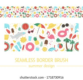Vector seamless border with summer elements. Cute flat background for kids with palm tree, plane, sunglasses, funny inflatable rings. Vacation beach pattern brush