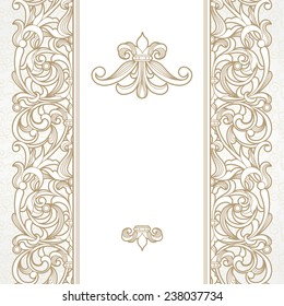 Vector seamless border in Victorian style. Vintage element for design, place for text. Ornamental floral pattern for wedding invitations, greeting cards. Traditional beige decor on light background.