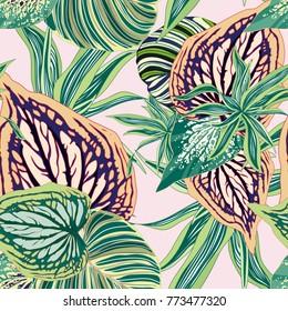 Vector Seamless Botanical Background Tropical Jungle