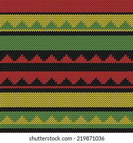vector seamless bright colored knitted pattern with tiangles