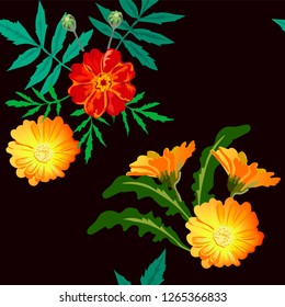 Vector seamless bright floral pattern, yellow flowers of the calendula medicinal plant and maroon marigolds of Tagetes patula on a black background for the design of a scarf, hijab, colorful print.