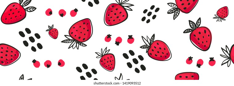 Vector Seamless bright light pattern Strawberry doodle style fresh fruit healthy food.